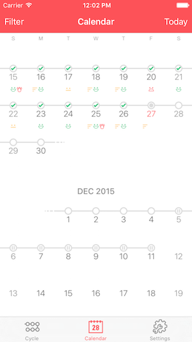 Pilly! 2 Screenshot Calendar View