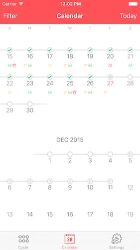 Pilly! 2 Screenshot Calendar View